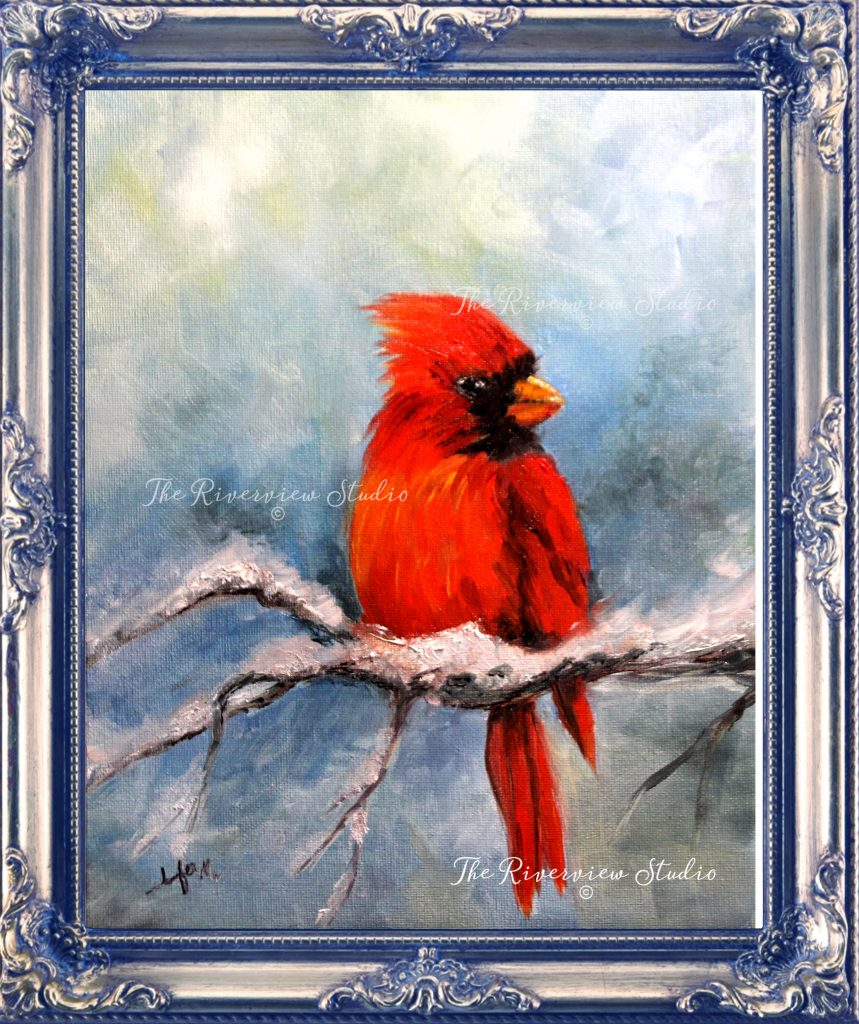 Cardinal Visit print by Jennifer Miller